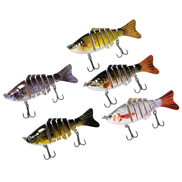 Free Shipping 15.4g 10cm Trout Minnow Baits Artificial Swimbait 7 Sections Lifelike Jointed Shad Lure