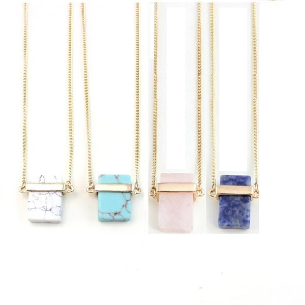 4 Colors Square Turquoise Natural Stone Pendant Necklace Pink Druzy Quartz Crystal Marble Necklace Women Jewelry