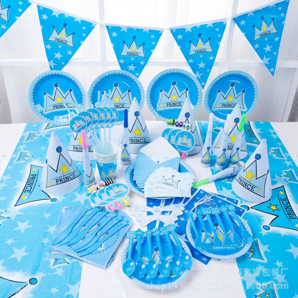 90pcs New Kids Birthday Party Decoration Set Birthday prince Crown Theme Party Supplies Baby Birthday Party Pack