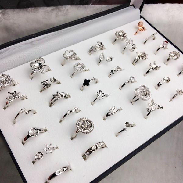 top popular 40 Styles Pearl Ring Settings DIY Ring Setting Fashion Jewelry Pearl Ring Wedding Rings 925 Silver Rings For Female DIY Gift 2019