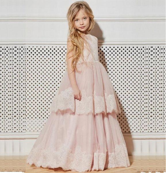 Pink Special Occasion Dress Pincess Pageant Flower Girl Dresses Wedding Party Dress Kids Gown Children Dress DHA15