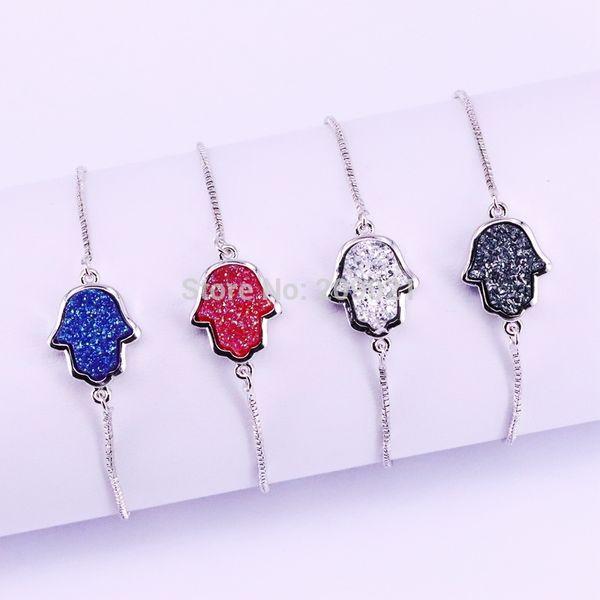 10Pcs Fashion Titanium Quartz Stone Hamsa Hand Connector Bracelet Adjustable Jewelry
