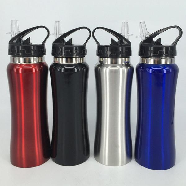 nuova bottiglia d'acqua da 20 once in acciaio inossidabile non isolato BPA Coperchio in paglia gratuito Bottiglia a parete singola per ciclisti, corridori, escursionisti