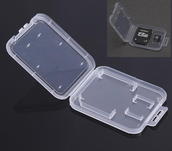2 In 1 Plastic Transparent Standard Camera Memory Card Holder Protect Storage Case SD TF MMC SIM Phone Card Organizate Boxes
