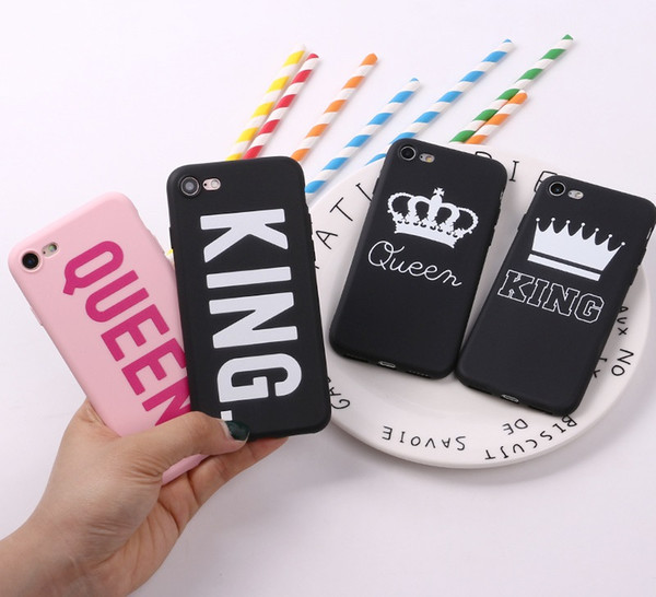 Soft TPU PC King Queen Painted Phone Case Skin For Phone X 8 7 6 6S Plus 5 Samsung Galaxy S7 Edge S8 S9 Plus Silicone Back iphone Cover