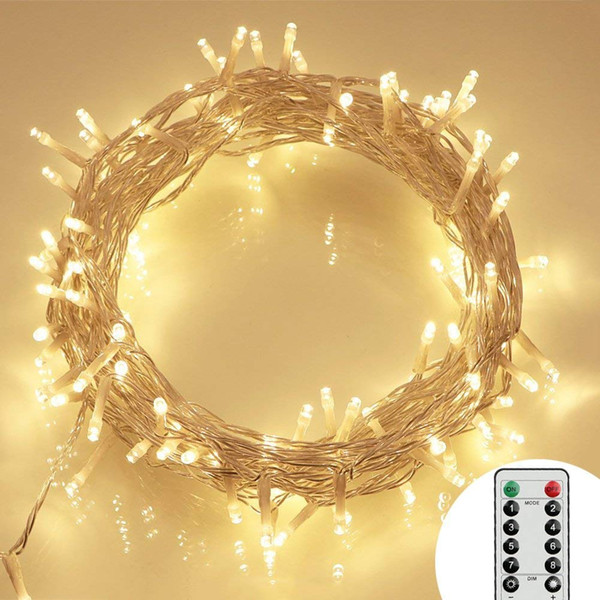 33ft 100 Led Battery Operated String Lights With Timer On 10m Outdoor Clear String Lights8 Modes Ip65 Waterproof Dimmable Christmas String C9 String