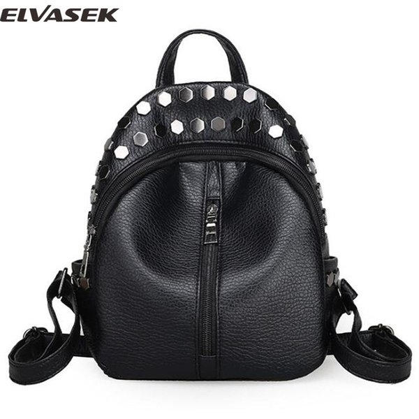 Elvasek new arrival women backpacks 2017 pu leather bags daily backpack ladies travel bag shoulder bag laptop bolsas softback