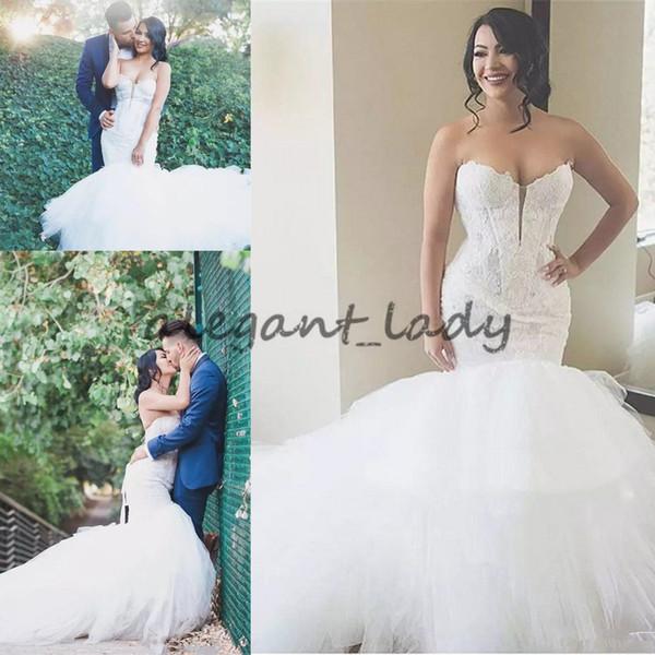 Vestidos de novia de encaje sirena cariño Vestidos de novia de tul puffy de jardín 2018 Vestidos de novia de talla grande personalizados de China