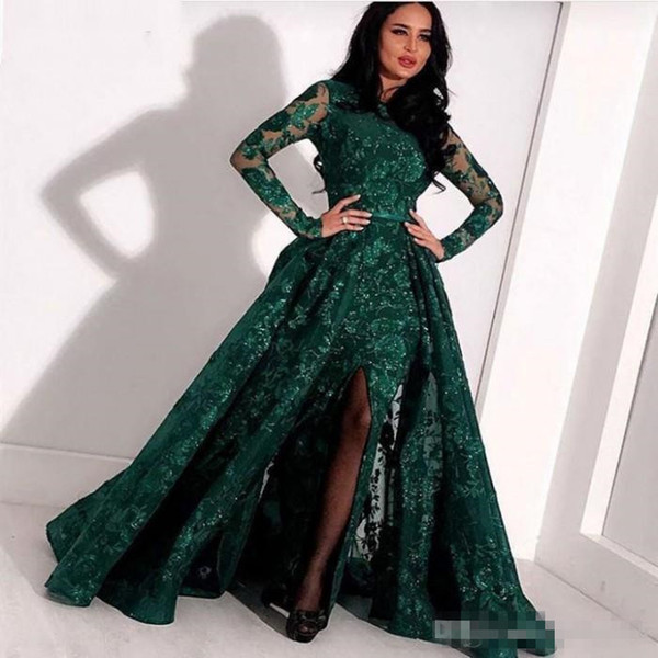 Hunter Green Mermaid Long Sleeve Prom Formal Dresses with Overskirt 2019 Jewel Neck Split Sexy Mermaid Full Lace Arabic Evening Gown