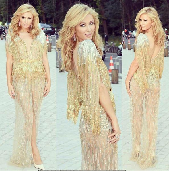 Evening dress Yousef aijasmi Long dress Short sleeve O-Neck Sweep Train Sequins Beaded Hilton Labourjoisie Zuhair murad Kim kardashian