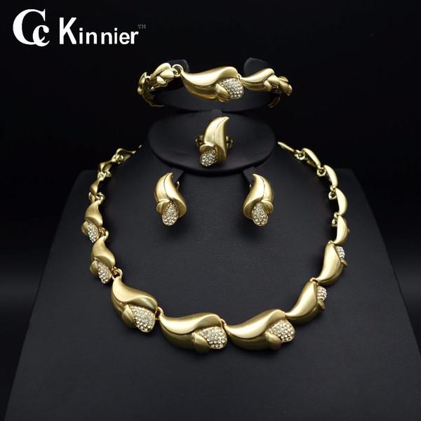 Toda vendaHot Moda Africano de mulheres conjuntos de jóias de casamento Nupcial Dubai contas de Ouro Branco exagerar Colar Bangle borla brincos anel