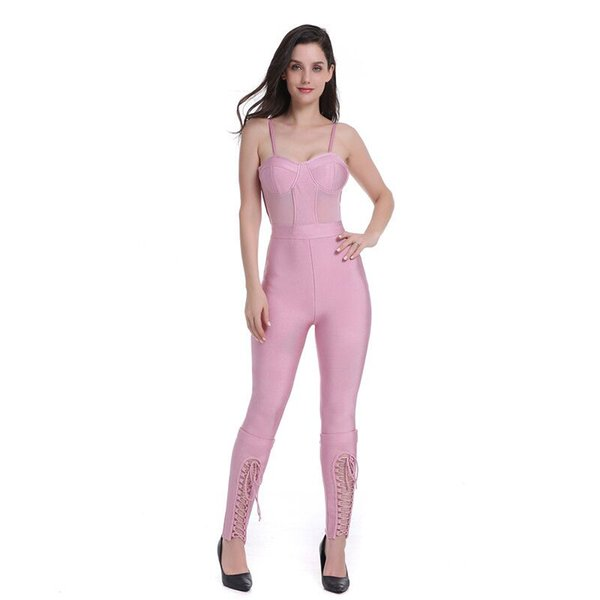 2018 Summer Elegant Pink Bodycon Stretch Bandage Jumpsuit High Quality New Women Spaghetti Strap Night Party Jumpsuits Wholesale