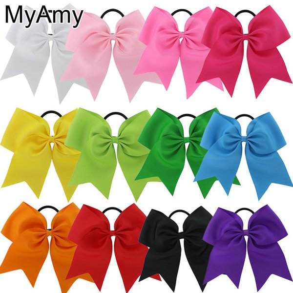 Myamy 24pcs Lot 7.5 Inch Hair Bows Boutique Elastic Ties Cheerleading Cheer Bow Grosgrain Ribbon Bow Hair Accessories