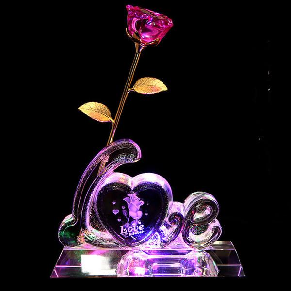 Crystal Rose flower crafts love shape design iceberg with lighting for Valentine's Day Wedding Favor Souvenir Gift