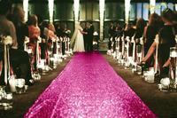 ShinyBeauty Sequin Aisle Runner 30feetx36Inch Sequin Carpet Runner Hot Pink for Wedding Ceremony Burlap Table Runner