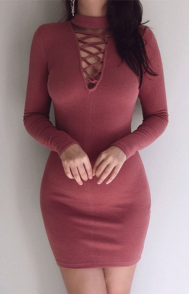 womens for Sexy V-Neck Hollow Out new winter Cross strap Skinny short black red dress Free Shipping