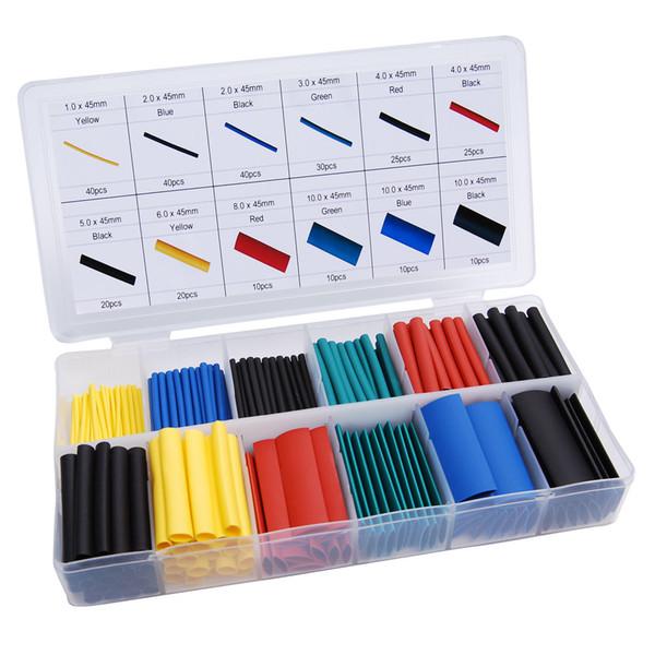 top popular 328 pcs set Heat Shrink Tubing Insulation Shrinkable Tube Assortment Electronic Polyolefin Ratio 2:1 Wrap Wire Cable Sleeve Kit 2021
