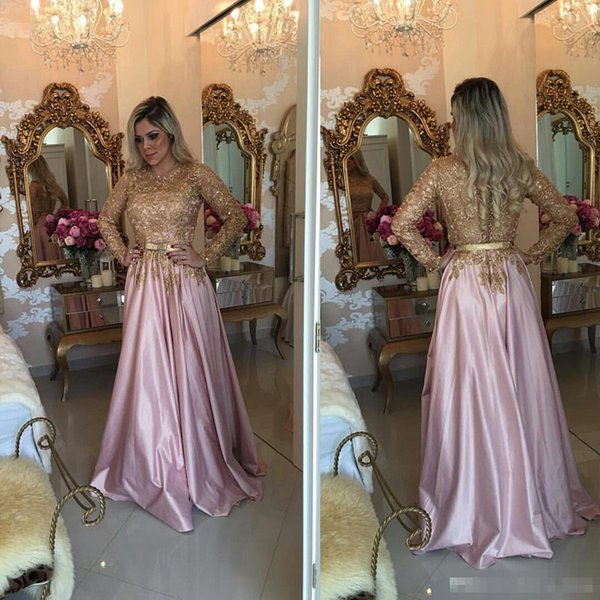 2018 A-Line Evening Dresses with Jewel Neckline Long Sleeves Sheer Floor Length Gold Beaded Appliques Bow Belt Sequins Lace Party Prom Gowns