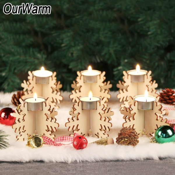 OurWarm New Year Decoration 6pcs 12x8cm DIY Wooden Snowflake Candle Holders Christmas 2018 Home Decoration Accessories Y18102609
