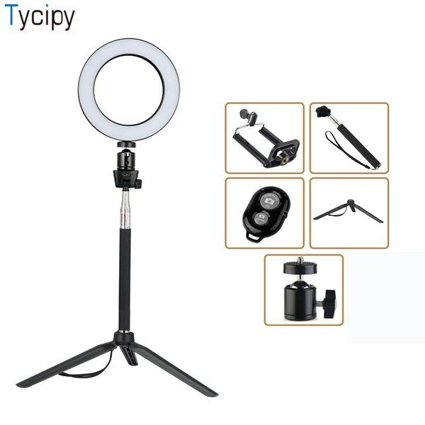 Tycipy Ring Light LED Fotografía Selfie Light Photo Camera Video Table Mini Tripod Selfie Stick Bluetooth Obturador USB Cor