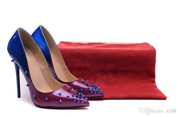 Purple et bleu conique en vrac avec des pointes rouge bas talons hauts femmes chaussures 12cm haut talon dames chaussures féminines basses chaussures pompes
