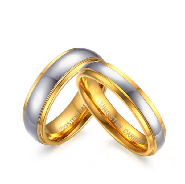 ZHF Jóias Seu Centro de Polimento Passo Borda Tungsten Carbide Wedding Band Anel para Mulher Homens 6 MM / 4 MM Preço para 1 Pce