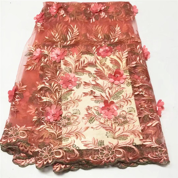 merletto francese di lusso con perline tessuto di pizzo 3d handmake fiore ricamato appliques pizzo africano viola per matrimonio 5 yard / lot