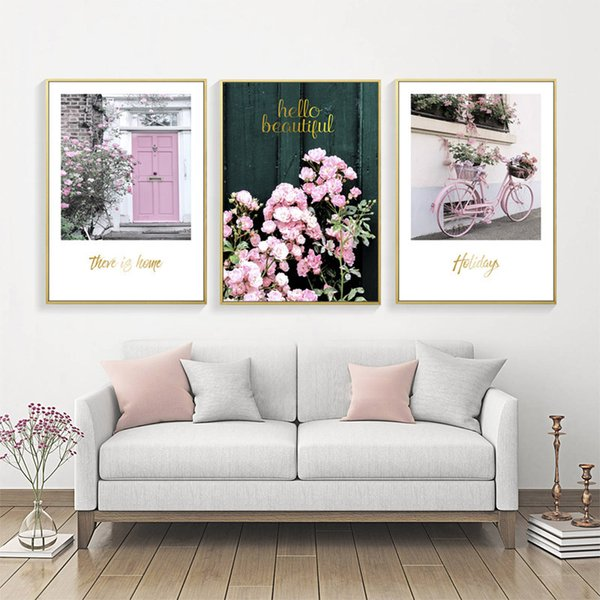Romántica Rose Flower Poster Cuadros Nordic Pink Poster Wall Art Canvas Painting Imagen Wall Pictures For Living Room Sin Marco