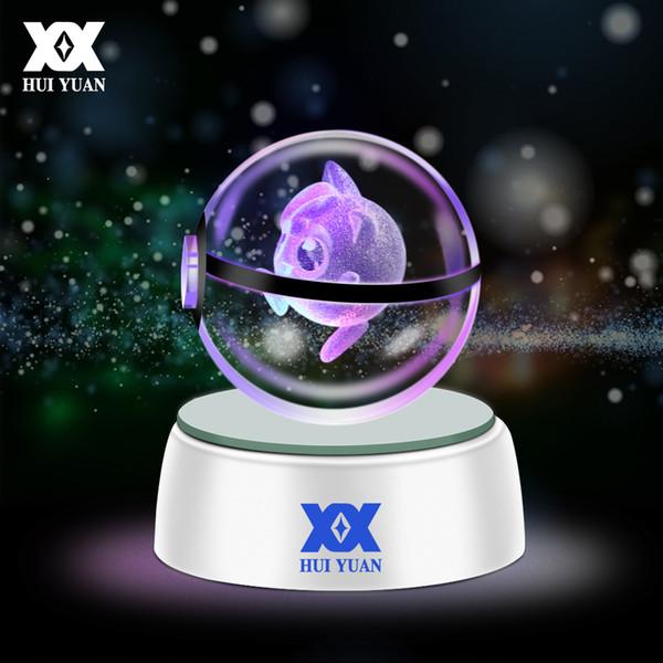 HUI YUAN 3D Crystal Ball LED Lamp For Series Pikachu/Gengar/Jigglypuff 5CM Desktop Decoration Light Glass Ball HY-668