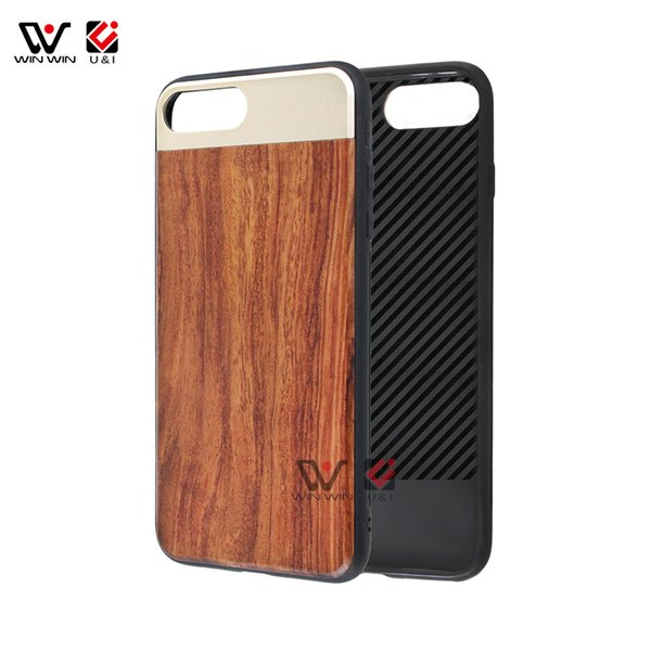 Natural Wood+Metal Phone Cover Engraving Pattern Mobile Phone Accessories Shockproof Solid Case For iPhone 6 7 8 X
