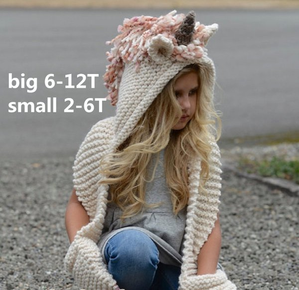 7 color Kids Knitted Unicorn Scarf Caps 2 in 1 Girls Infant Warm Knitted Hats warmer Winter Beanie Hat Tassels caps for 2-12T