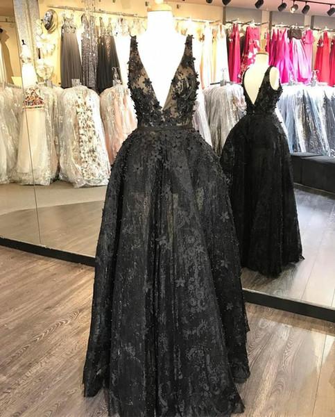 New 3D Floral Appliques Prom Dresses V Neck Lace Prom Dress Bead Plus Size Little Black Sexy Formal Dresses