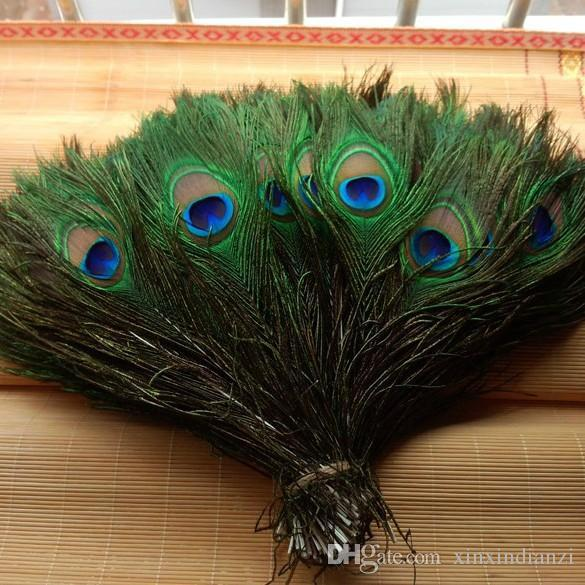 best selling 2018 Genuine Elegant Decorative Real Natural Peacock Feather Home Decoration Material Flowers Bouquet Accessories About 25 To 30cm E678LR