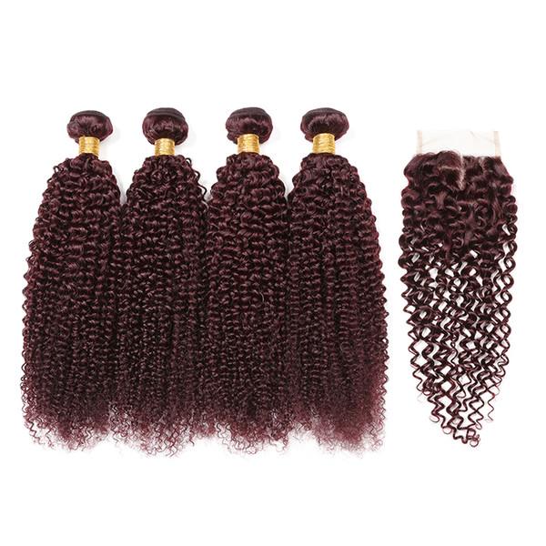 99J Feixes de Cabelo Peruano kinky curly weaves Encerramento Cor Borgonha Feixes de Cabelo Malaio Afro Crespo Encaracolado Com 4 * 4 Extensão Do Cabelo Encerramento