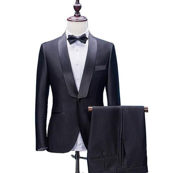 Trajes negros ajustados para hombres Trajes de novios para bodas 2018 con solapa de mantón 2 piezas (chaqueta + pantalón) Trajes de novio Mejor hombre Blazer