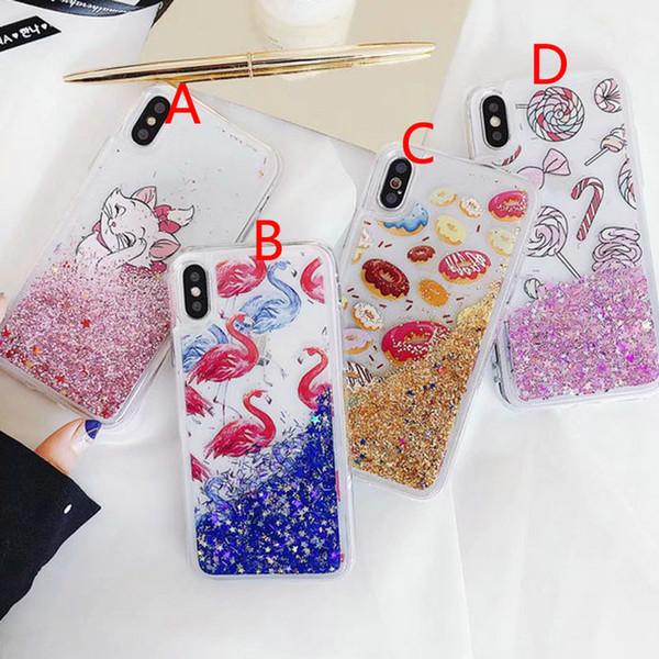 Милый мультфильм фламинго iquid quicksand чехол для мобильного телефона чехол для iphone X 7 7 плюс 8 8 плюс 6 6 плюс 6 S TPU + ПК