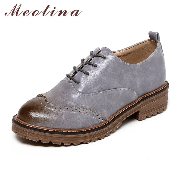 Meotina Women Shoes Lace up Oxfords Flats Pointed Toe Lady Shoes 2017 Design Ladies Casual Plus Size 33-42 Zapatos Mujer