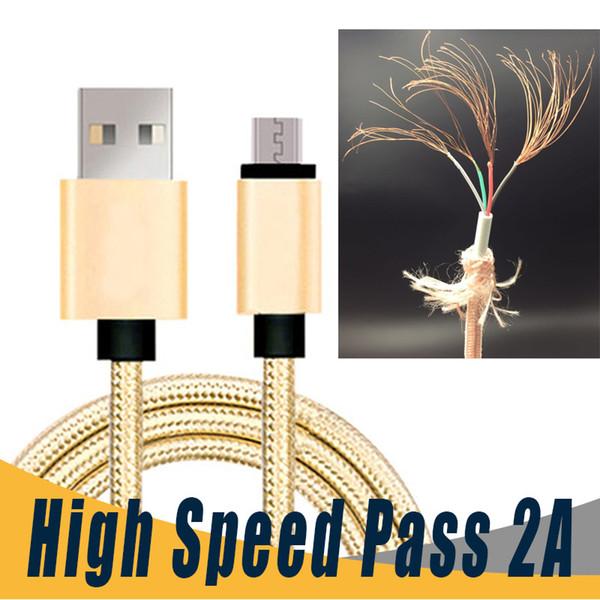 Paso de carga rápida 2.1A Tipo C Cable Micro USB Cargador 1m 2m 3m 0.25m Cable C USB para Samsung S8 Plus HTC Sony LG Android