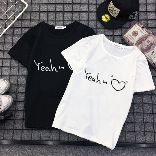 Camiseta das mulheres T Mulheres Tops de Verão Roupas Kawaii Coreano Moda Casual Tshirt Solto Plus Size Carta de Impressão Curta Coração Mulher Tshirt 2018