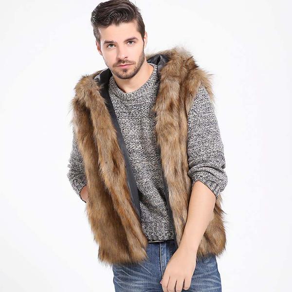 Inverno Engrossar Homens Quentes Cabeludo Faux Fur Colete Com Capuz Coletes Sem Mangas Pockets Casaco Outerwear Casacos Plus 2X 6Q2161