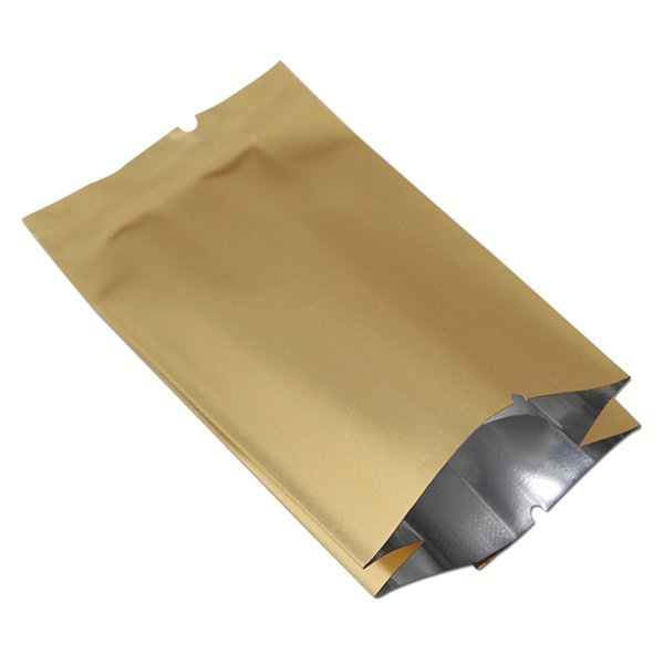 Gold Open Top Aluminum Foil Mylar Bag Vacuum Heat Seal Side Gusset Pouch Packaging Food Pack Coffee Tea Snack Dried Fruit Flower