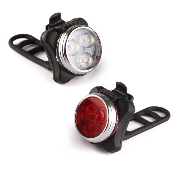 1 زوج USB القابلة لإعادة الشحن الدراجة الخفيفة تعيين السوبر مشرق المصباح الأمامي وخلفية مجانية بقيادة مصباح دراجة ضوء تحذير السلامة 650mah