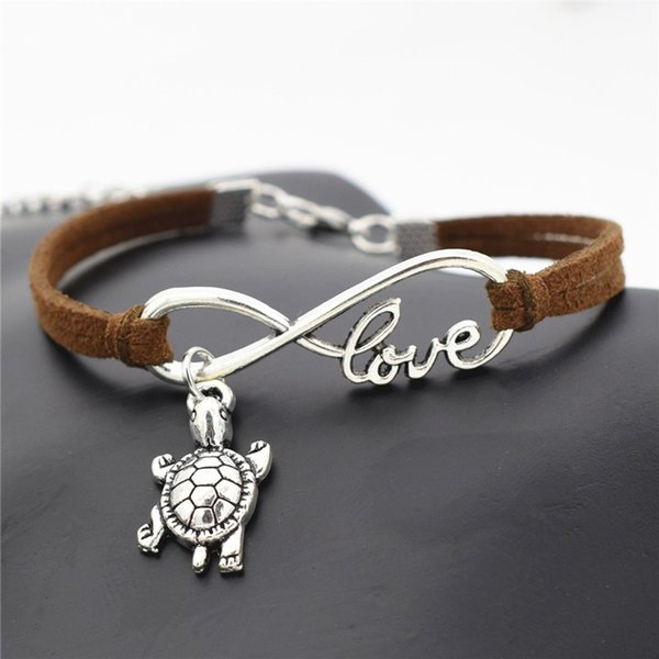 Luxury Vintage Silver Infinity Love Tortoise Pendant Jewelry For Women Men Charm Dark Brown Leather Rope Bracelets Bangles Wedding Fine Gift