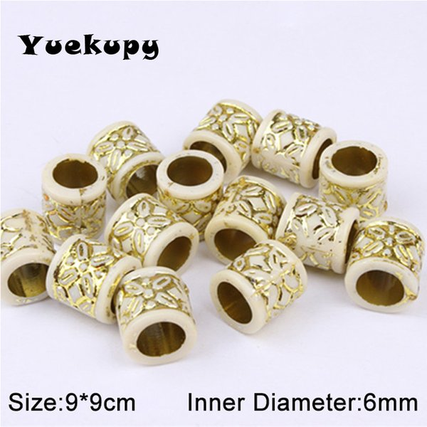 100pcs 6mm Acrylic Dread Dreadlock  With Gold Flower Pattern Hair Braid Braiding Tube Ring Cuffs Clips Hair Jewelry Tool