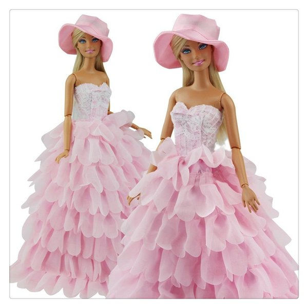 Princess Evening Party Clothes Wears Dress Outfit Set for Doll with Hat Suitable For A Girl To Make A Gift Hot Sale