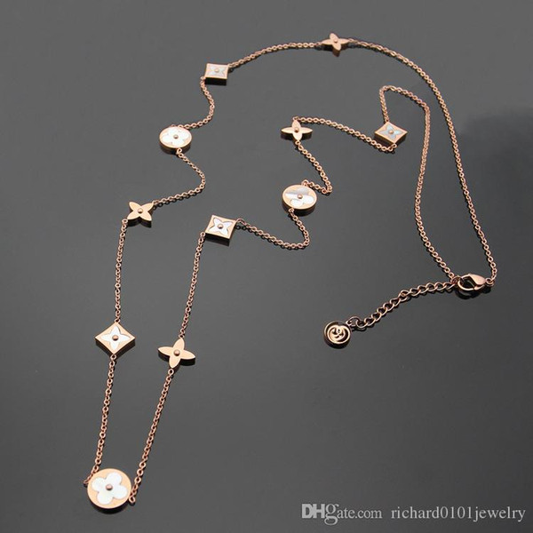 Titanium steel Rose Gold long Necklace for women Length 97cm Europe and America white Shell four leaf flower sweater chain pendant necklace