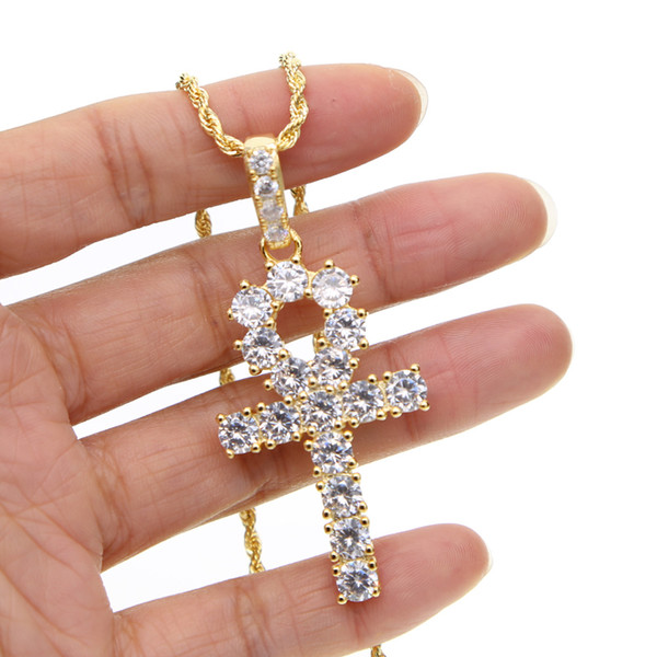 Classic cz cross necklace for mens long chain necklace with gold silver plated cross rope chain jewelry for mens hip hop jewelry