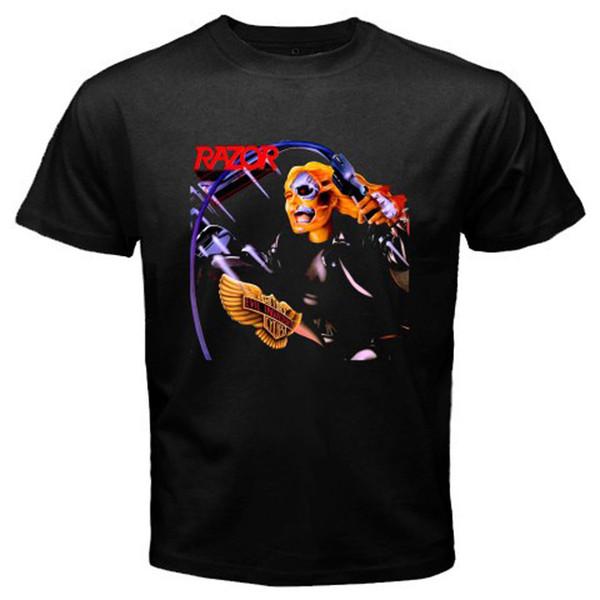 New RAZOR Thrash Metal Rock Band Men's Black T-Shirt Size S-3XL 100% cotton Men's Clothing T-Shirts Tees Men Hot Cheap