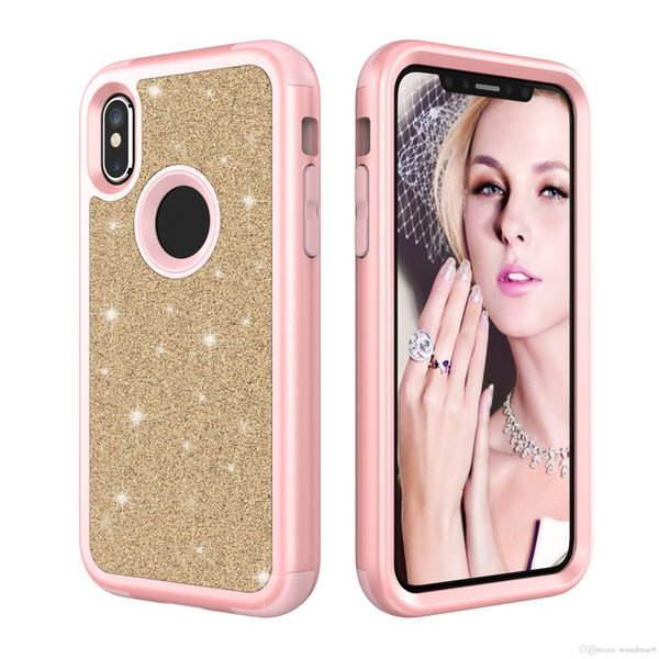 Hybrid Bling Glitter Shinning Dual Layer Case Fashion Gradient 3 In 1 Shockproof Back Cover for iphone X 8 7 6s 6 Plus Samsung S9 plus Opp