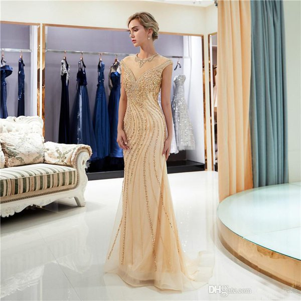 Classic Heavily Beaded Prom Dress 201p Beads Sequins Rhinestone Scoop Cap Sleeves Mermaid Evening Dress See Through Party Gown
